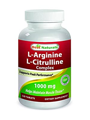 Best Naturals L-Arginine L-Citrulline Complex 1000 mg 120 Tablets