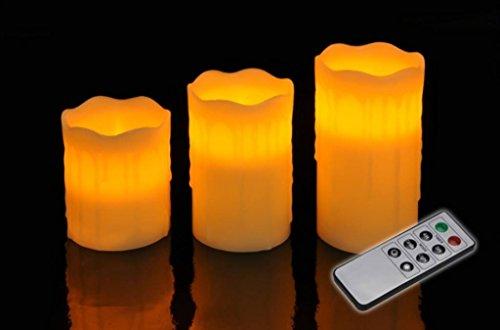 3er Set LED Kerzen elfenb.m.Fb