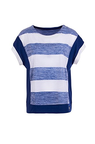 super.natural Damen W Comfort Panel Tee Printed Merino T-Shirt, Fresh White/Bold Stripe Print, 42.0 (Panel Shirt Stripe)