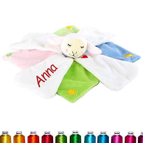 LALALO Schäfchen Schmusetuch Bestickt mit Namen für Baby & Kinder personalisiert, Kuscheltuch Mehrfarbig (Blau, Grün, Rosa, Weiß) für Junge und Mädchen