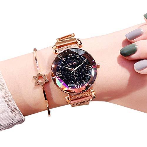 Hamkaw Damen Analog Quarz Uhr Luxus Frauen Uhr Mode Damen Ultra Dünn Minimalistische Armbanduhr Magnet Mesh Band für Geburtstag Muttertag Frauentag Rose Gold (Luxus Uhren Frauen Mode)