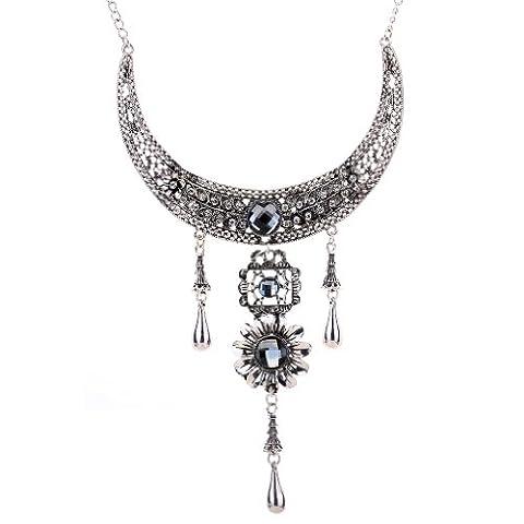 Yazilind Ethnic Design Tibetan Silver Flower Square Round Crystal Chunky Bib Necklace Women Gift