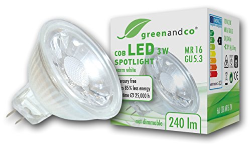 greenandco® LED Spot ersetzt 25 Watt MR16 GU5.3 Halogenstrahler, 3W 240 Lumen 2700K warmweiß COB LED Strahler 38° 12V AC/DC Glas mit Schutzglas, nicht dimmbar, 2 Jahre Garantie