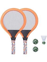 LIOOBO Raquetas de Tenis para Niños Raqueta de Tenis Juego de Playa Juego de Bádminton para Niños con 2 Raquetas (Verde)