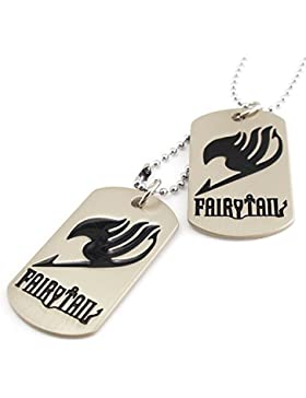2Khaki militarys Hund Tags schwarz Fairy Tail Bedruckte Anhänger Lang Silber Perlen Kette Pullover Halskette