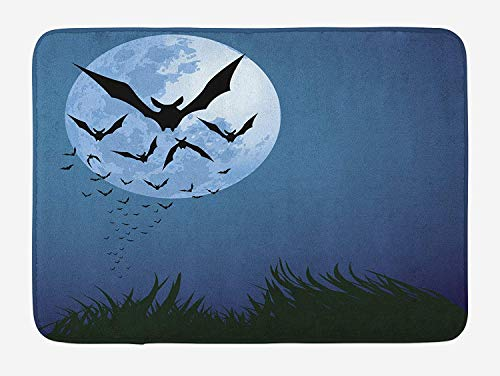 h Mat, A Cloud of Bats Flying Through The Night with a Full Moon Fall Season, Plush Bathroom Decor Mat with Non Slip Backing, 23.6 W X 15.7 W Inches, Night Blue Black Grey ()