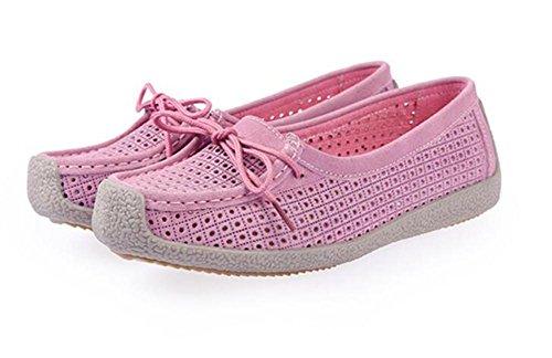 LDMB Frauen flache Ferse Erbsen niedrig zu helfen, Schuhe wirklich Rindsleder Loch Schuhe Pink