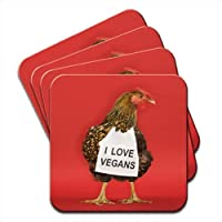 Chicken with Sign I Love Vegans Set Of 4 Coasters