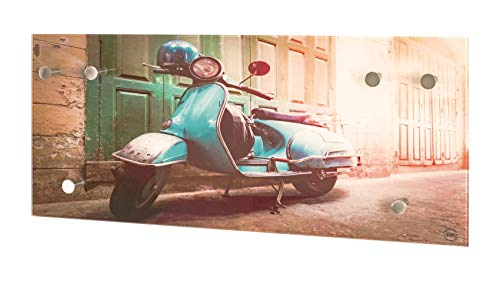 Wandgarderobe Maße (B/T/H) in cm: 70 x 5 x 30 Printmotiv Roller mit 6 Haken aus Glas und Metall
