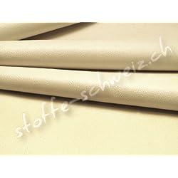 Stoffkontor - Tela para tapizar (140 cm de ancho, piel sintética), color crema