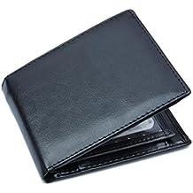 091fb101ff381 CLOOM Herren PU Leder Geldbörse Brieftasche Herren Studenten Brieftasche  Kartenhalter Geldbeutel klein Schwarze Herren Ledergeldbörse Querformat