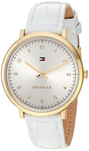 Tommy Hilfiger Women's 'SPORT' Quartz Gold-Tone and Leather Casual Watch, Color White (Model: 1781763)
