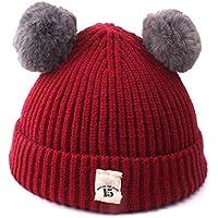 Aclth Chicos de Invierno para niñas Baby Wine Red Hat Oso Lindo Toddler Beanie Warm para otoño Invierno para Actividades de Snowboard al Aire Libre (Color : Vino Rojo)