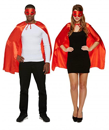 Halloween Red Super Hero Adult's Fancy Dress Costume Includes Cape & (Erwachsenen Super Hero Cape)