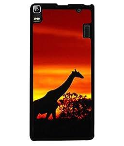 PrintVisa Designer Back Case Cover for Lenovo A7000 :: Lenovo A7000 Plus :: Lenovo K3 Note (Africa African Animal Giraffe Background Black Beautiful Clouds)