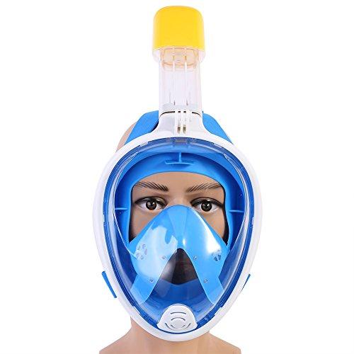 Máscara de Buceo Vista de 180 °de Cara Completa Anti-fugas Anti Niebla Máscara de Snorkeling para Niños Con Tapones para los Oídos ( Color : Azul )