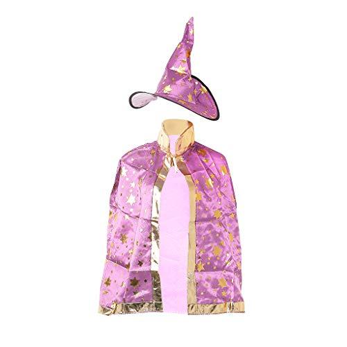 qingqingR Kinder Kinder Halloween Kostüm Witch Wizard Mantel Kleid Robe Hut Sterne Cosplay ()