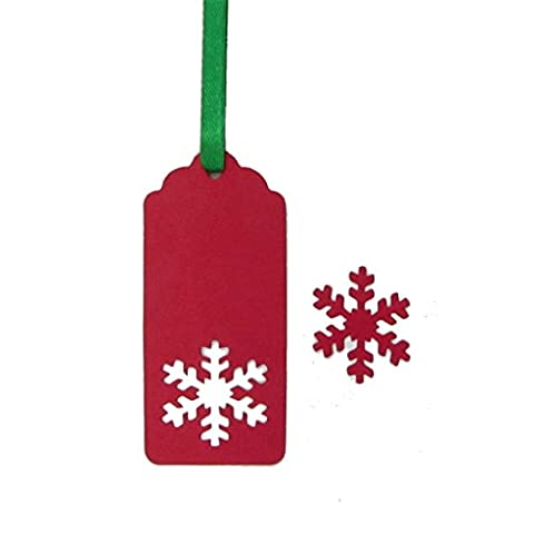eKunSTreet ® 50PCS Red Snowflake Paper Tags 40mmx90mm Blank with Green Ribbon - Wedding Favour, Party Gift Tag, Luggage Tag, Price Label, Table Place Card, Wish Tree,DIY Blank Cards