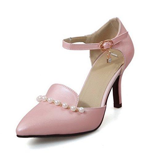 AllhqFashion Femme Matière Souple Boucle Pointu Couleur Unie Chaussures Légeres Rose