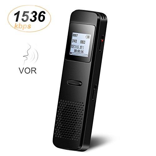8GB Metall Digitale Diktiergeräte mit integriertem Lautsprecher, sprachgesteuerter, echtzeitfähiger Audio Recorder für Vorlesungen Meetings & Interviews Recorder, von AGPTEK RP33, Schwarz
