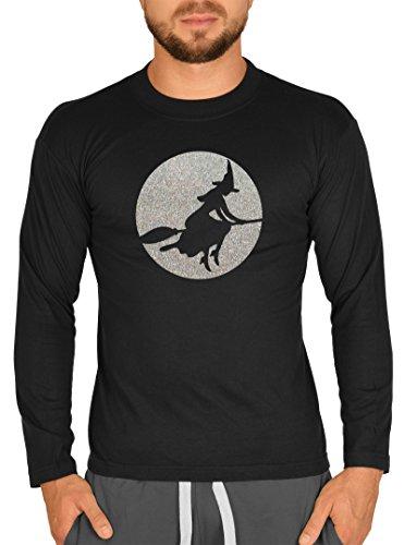 (Langarm Herren T-Shirt Halloween Horror Glitzer Motiv Hexe Langarmshirt Grusel Shirt Glitter Longshirt für Männer Männershirt Laiberl Leiberl)
