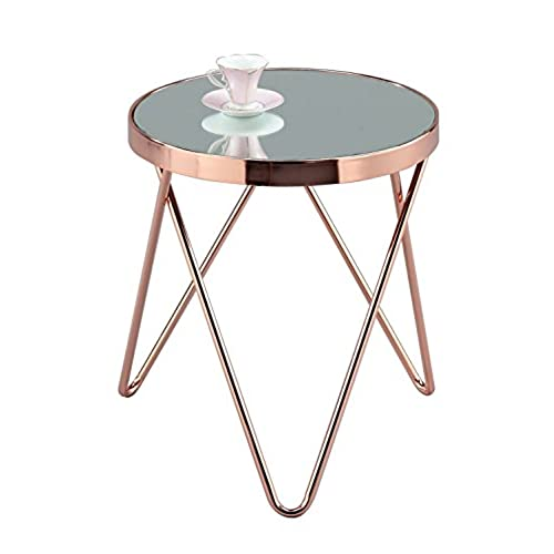 ASPECT Puccini Mirrored/Glass Round Side/Coffee/End/Lamp Table, Metal,  Copper