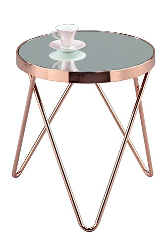 ASPECT Puccini Mirrored/Glass Round Side/Coffee/End/Lamp Table, Metal, Copper (Coffee Über Room Table Living)