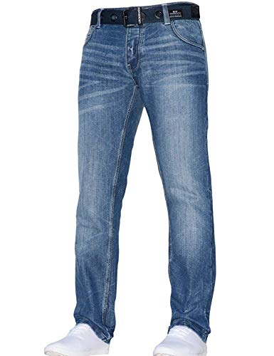 CrossHatch Herren klassisch gerades Bein Regular Fit Stylisch Denim Jeans alle Taillen Größen mit Gürtel - Techno Steinwäsche, 46W/30L -