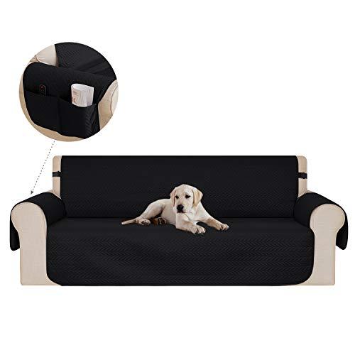 Deconovo copridivano 3 posti trapuntato con tasche fodera divano protegge il mobile per cani/gatti letto nero