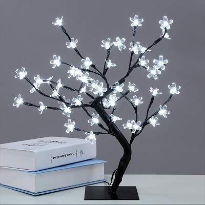 BEITAI 1X Kristall Kirschblüte 48-LED Baum Licht Nachtlichter Tischlampe Luminarias Weihnachtsdekoration Luz De LED 45 CM Nachtlicht (Color : 220V EU plug-Cold White) -