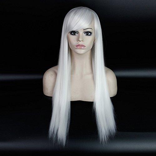 royalvirgin Sonderangebot 66cm Chinesische Best Hitzeresistente Synthetik Günstige seidig glattes Haar Frauen Lang Weiß Perücke mit Pony Cosplay für Kostüm Party (Halloween Kostüme Zum Verkauf Online)