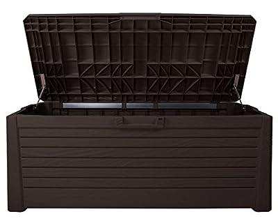 Kissenbox Florida Holz Optik Sitztruhe Auflagenbox braun 550 Liter XXL mit Gasdruckfedern von Ondis24 bei Du und dein Garten