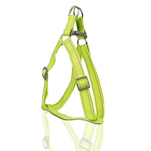 Septven Hochwertige Reflektierende Neon Fluoreszierende Farbsicherheit Nylon-Kabelbaum (Leine enthalten) für Große und Kleine Hunde Von S Bis XL (M, Gelb)