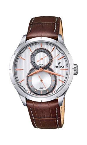 Festina RETRO Men's Quartz Watch with Silver Dial Analogue Display and Brown Leather Strap F16892/2