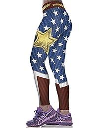 FLY Las Mujeres Que Basan Las Pantimedias Mujer Maravilla Pantalones De  Impresión be05be62eaf4