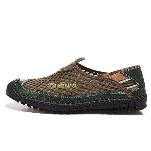 Mens-Mesh-Schuhe Sommer-Casual-Sandalen Leder und Mesh-Stoff langlebig und atmungsaktiv ink green