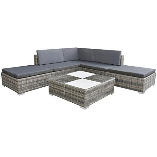 vidaXL 15-tlg. Gartensofa Sitzgruppe Lounge Gartenmöbel-Set Poly Rattan Grau