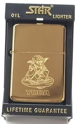 Yoda Star Wars Star Gold Benzin Feuerzeug (tg30) + 59mm knopf-abzeichen von emblems gifts - Du und dein Garten