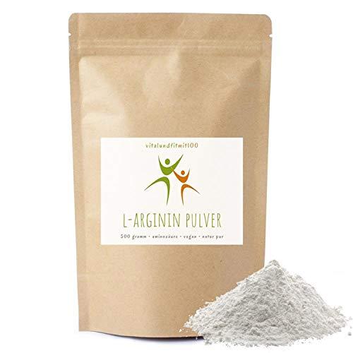 L-Arginin Base Pulver - 500g - nicht-essentielle Aminosäure - pflanzl. Ursprung, gewonnen durch Fermentation - 100{d06e6031bf651113012a9c86117455469d500063dc528eea4e7643f645654abd} vegan - Reinsubstanz - glutenfrei - laktosefrei - OHNE Hilfs- u. Zusatzstoffe