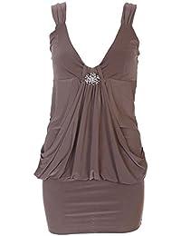 MIXLOT Neue Frauen reizvolle Ahle Strap Mini Abendmode -Kleid-Damen V-Ausschnitt Strass Schnalle Brosche Rüschenhemd Top kurzes Kleid Herbst 36-50