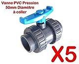 """Lot de 5 Vannes INTERPLAST à coller 50mm 1""""1/2 double union démontable PVC Pression PN16 Vanne à boisseau 50 mm"""