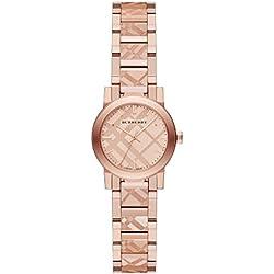 Burberry BU923526mm caja de acero inoxidable chapado en oro rosa oro acero inoxidable bañado en oro sintética Sapphire reloj de pulsera de mujer