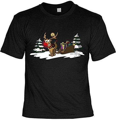 T-Shirt - Rentier Rudolf mit Weihnachtsmann Schlitten - Weihnachtsshirt als Outfit für die Festtage