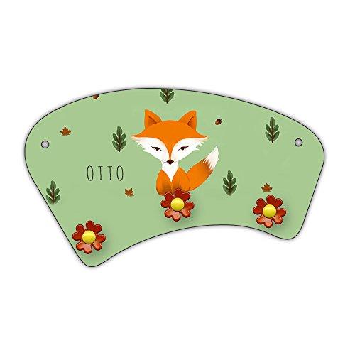 Wand-Garderobe mit Namen Otto und schönem Motiv mit Fuchs im Aquarell-Stil zur Einschulung für Jungs | Garderobe für Kinder | Wandgarderobe