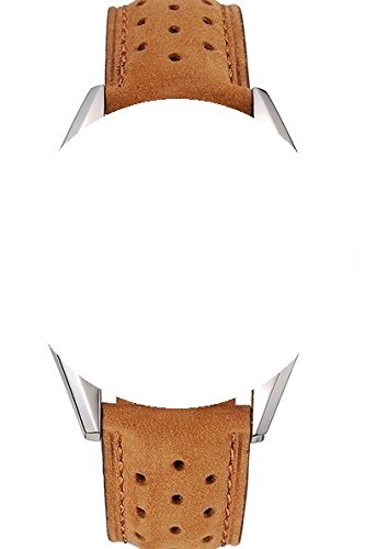 22/20mm watch cinturino in pelle colore cammello Dotted stile con...