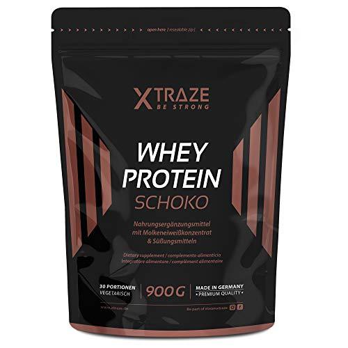 Whey Protein Pulver für Eiweiß-Shakes 900 g Molkenprotein-Konzentrat + Isolat mit BCAA, Made in Germany, ohne unnötige Zusatzstoffe, für Kraftsport, Bodybuilding, Fitness (1 Beutel Schoko)