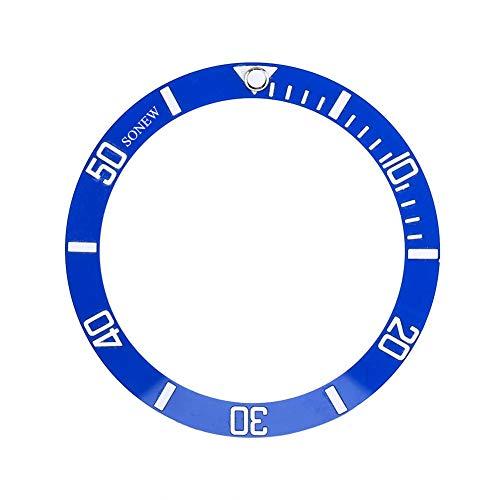 Uhr schreiben Lünette einfügen passt Seiko Date Display Keramik Uhr Handgelenk Ersatzteile(Blue)