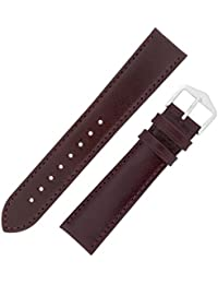 Hirsch Osiris Calf Leather Watch Strap with Buckle in Burgundy (18mm L, Silver Buckle)