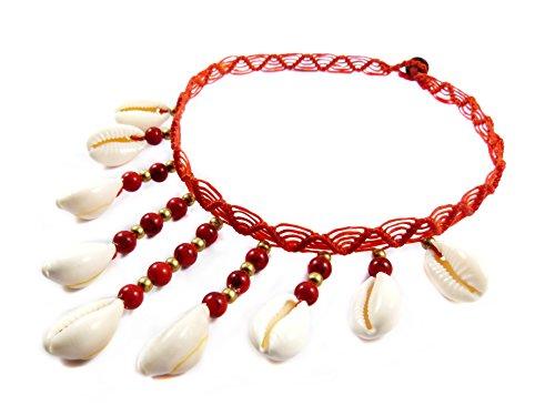 Makramee Kauri Muschel Choker Rot Thailand Boho Surfer Gypsy Tribal Micro Macrame Halsband