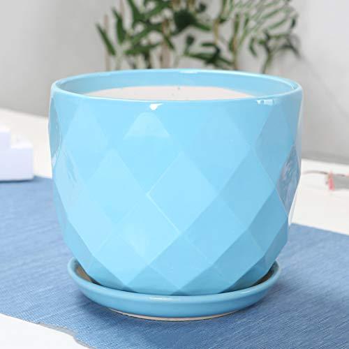 HLJ Mode Maison Pot De Fleur en Céramique Simple Balcon Créatif Pot De Fleur Salon Salle De Plante Délicate Pot De Fleurs (Size : XL:21 * 19cm)